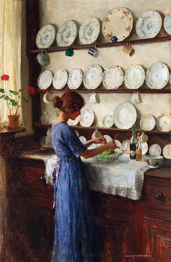Lady-of-the-House-William-Henry-Margetson insalata con caprino e frutta secca