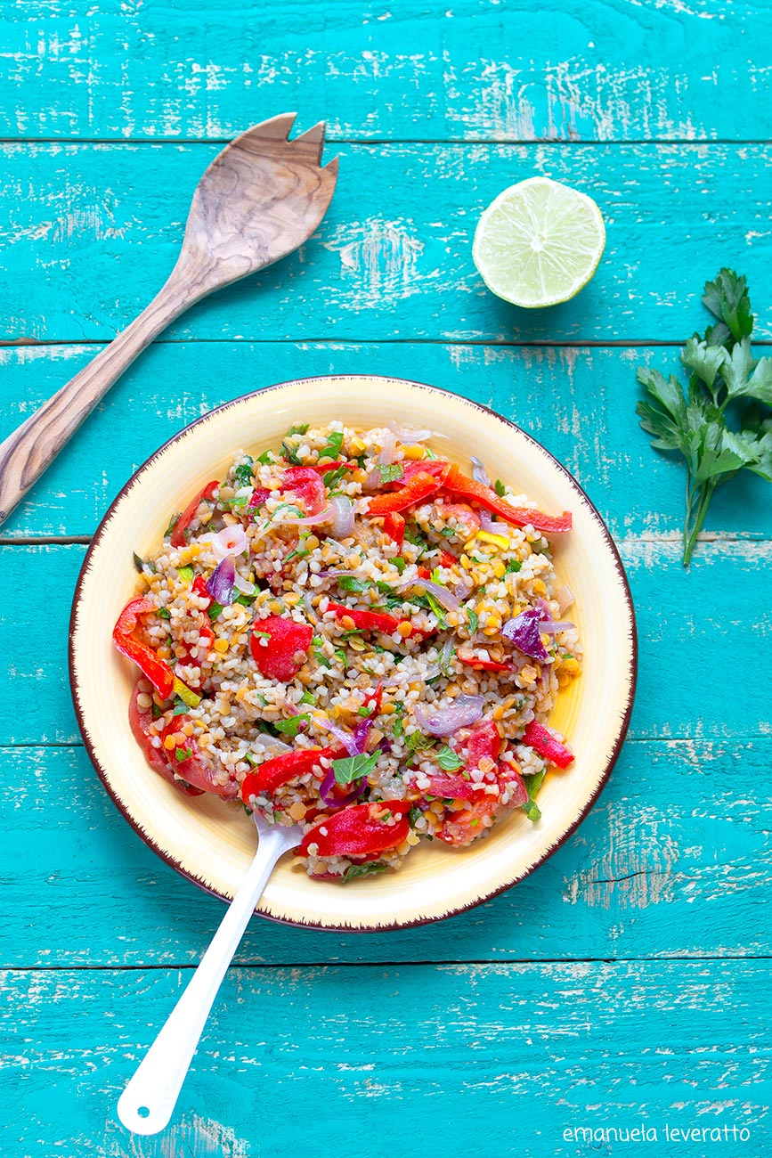 insalata di bulgur e lenticchie